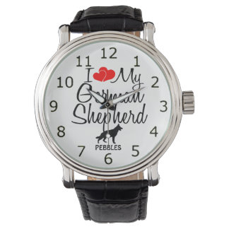 I Love My German Shepherd Dog Wristwatch