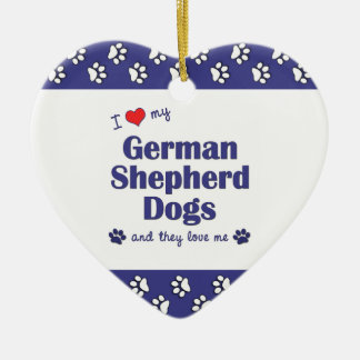 I Love My German Shepherd Dogs (Multiple Dogs) Ceramic Ornament
