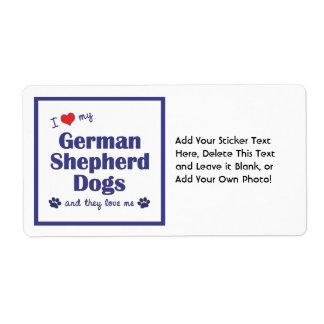I Love My German Shepherd Dogs (Multiple Dogs) Label