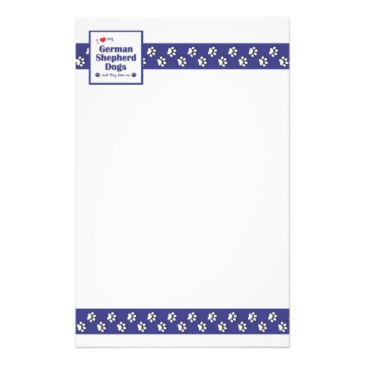 I Love My German Shepherd Dogs (Multiple Dogs) Personalized Stationery