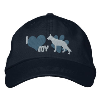 I Love my German Shepherd Embroidered Hat (Blue)