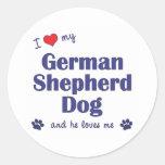 I Love My German Shepherd (Male Dog) Stickers