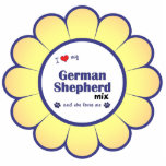 """I Love My German Shepherd Mix (Female Dog) Statuette<br><div class=""""desc"""">Show the world how much you love your German Shepherd mixed breed dog (and that the feeling is mutual!). With a heart and two pawprints, the words read &quot;I love my German Shepherd Mix and she loves me&quot;. This design is specifically for a female dog (she), we also have variants...</div>"""