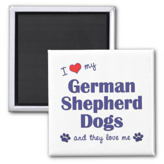 I Love My German Shepherds (Many Dogs) 2 Inch Square Magnet