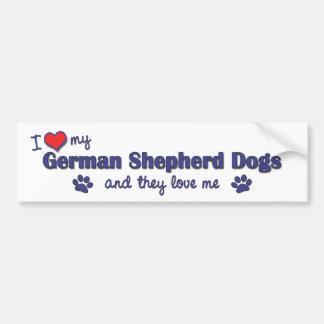 I Love My German Shepherds (Multiple Dogs) Bumper Sticker
