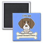 I Love My German Shorthaired Pointer 2 Inch Square Magnet