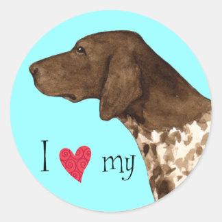 I Love my German Shorthaired Pointer Classic Round Sticker