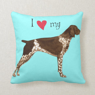 I Love my German Shorthaired Pointer Throw Pillow