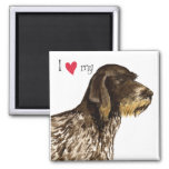 I Love my German Wirehaired Pointer 2 Inch Square Magnet