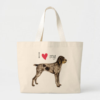 I Love my German Wirehaired Pointer Large Tote Bag