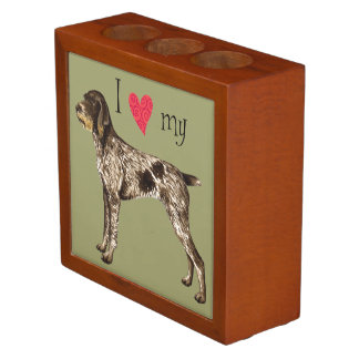 I Love my German Wirehaired Pointer Pencil Holder