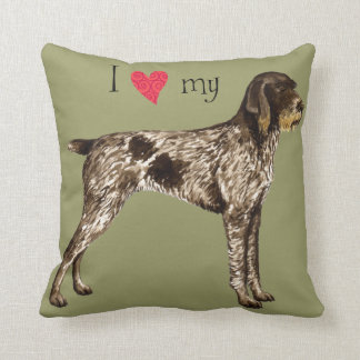 I Love my German Wirehaired Pointer Throw Pillow