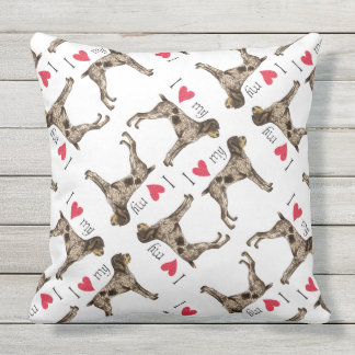 I Love my German Wirethaired Pointer Throw Pillow