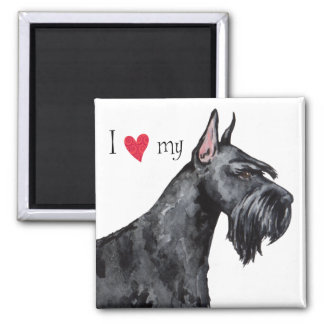 I Love my Giant Schnauzer 2 Inch Square Magnet