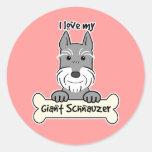 I Love My Giant Schnauzer Classic Round Sticker