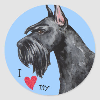 I Love my Giant Schnauzer Classic Round Sticker