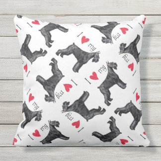 I Love my Giant Schnauzer Outdoor Pillow