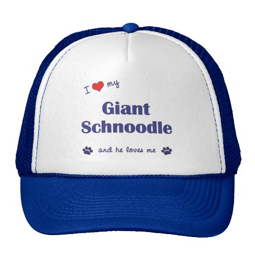 I Love My Giant Schnoodle (Male Dog) Trucker Hats