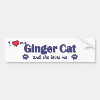 I Love My Ginger Cat (Female Cat) Car Bumper Sticker