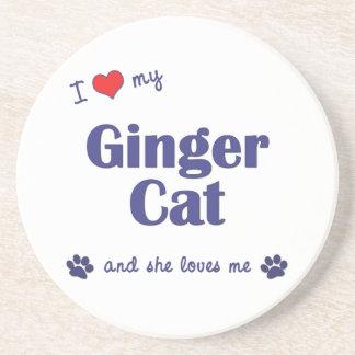 I Love My Ginger Cat (Female Cat) Drink Coaster