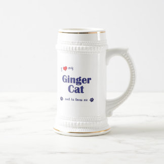I Love My Ginger Cat (Male Cat) Beer Stein