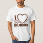 """I Love My Girlfriend Custom T-shirt<br><div class=""""desc"""">cute and bubbly font that says """" I Love My GIRLFRIEND"""" with a huge heart that allows you to insert your image,  in the color brown and light pink</div>"""