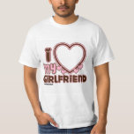 """I Love My Girlfriend Custom T-shirt<br><div class=""""desc"""">cute and bubbly font that says """" I Love My GIRLFRIEND"""" with a huge heart that allows you to insert your image,   in the color brown and bright pink</div>"""