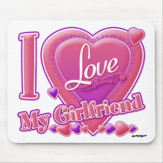 I Love My Girlfriend pink/purple - hearts Mouse Pad