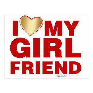 I Love My Girlfriend Valentines Day Heart 14th Feb Postcard