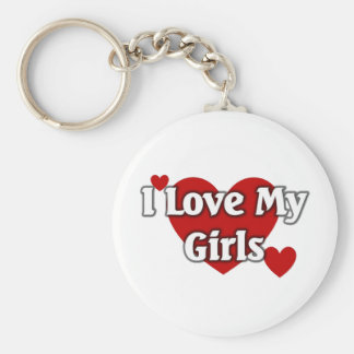 I love my Girls Basic Round Button Keychain