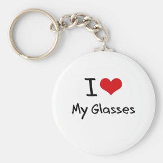 I Love My Glasses Basic Round Button Keychain