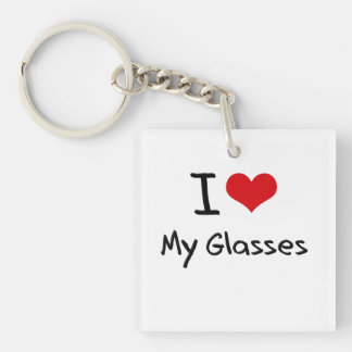 I Love My Glasses Single-Sided Square Acrylic Keychain