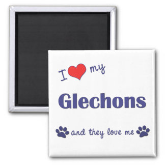 I Love My Glechons (Multiple Dogs) 2 Inch Square Magnet