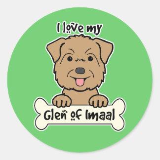 I Love My Glen of Imaal Round Sticker