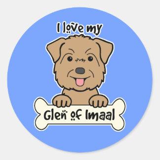 I Love My Glen of Imaal Round Stickers