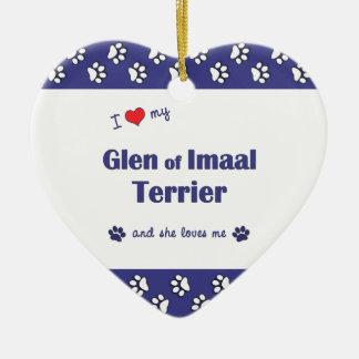 I Love My Glen of Imaal Terrier (Female Dog) Christmas Ornaments