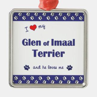 I Love My Glen of Imaal Terrier (Male Dog) Christmas Tree Ornaments