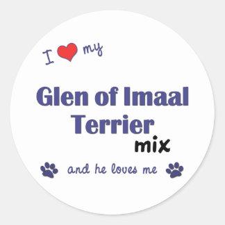 I Love My Glen of Imaal Terrier Mix (Male Dog) Round Sticker