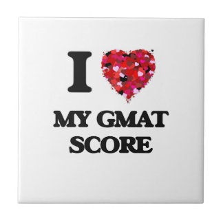 I Love My Gmat Score Small Square Tile