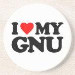 I LOVE MY GNU BEVERAGE COASTERS