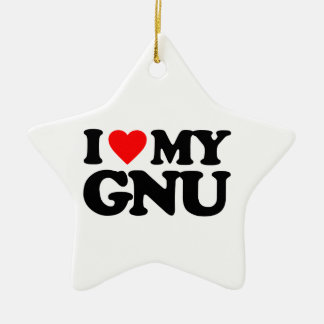 I LOVE MY GNU CERAMIC ORNAMENT