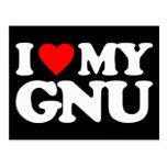 I LOVE MY GNU POSTCARD