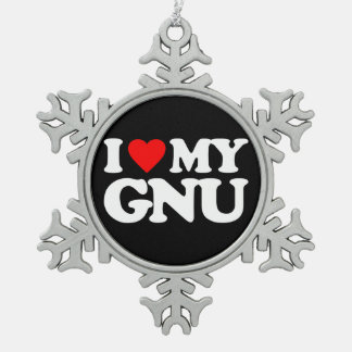 I LOVE MY GNU SNOWFLAKE PEWTER CHRISTMAS ORNAMENT