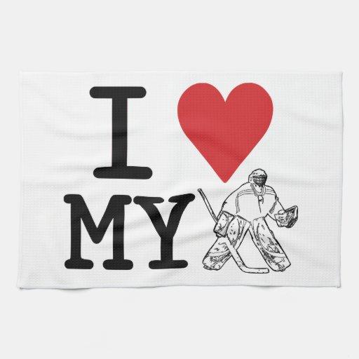 I Love My Goalie Hockey Kitchen Towel   Zazzle