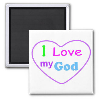 I love my God with heart Christian 2 Inch Square Magnet