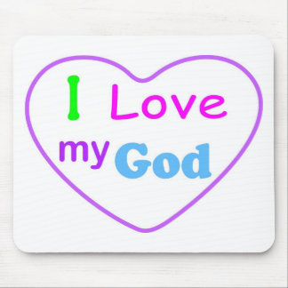 I love my God with heart Christian Mouse Pad
