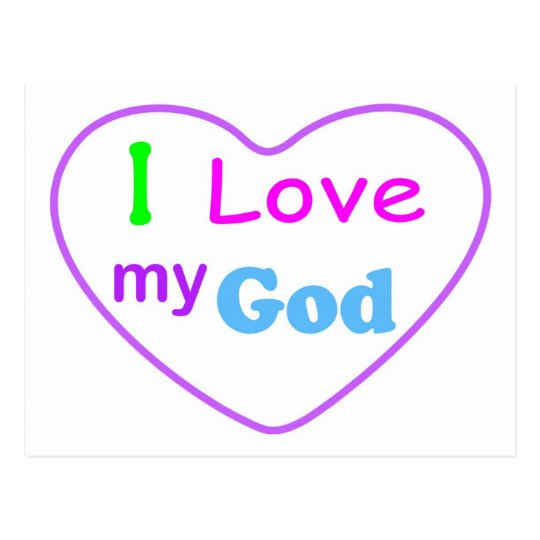 I love my God with heart Christian Postcard