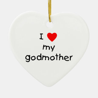 I Love My Godmother Ceramic Ornament