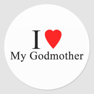 I love my godmother classic round sticker