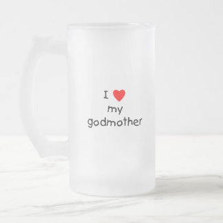 I Love My Godmother Frosted Glass Beer Mug